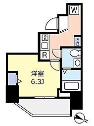 ランヴィ文京千駄木 7階1Kの間取り
