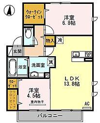 南海高野線 初芝駅 徒歩15分の賃貸アパート 2階2LDKの間取り