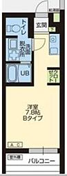 WOOD4東川口 2階ワンルームの間取り