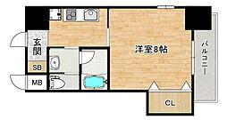 Osaka Metro谷町線 四天王寺前夕陽ヶ丘駅 徒歩2分の賃貸マンション 5階1Kの間取り