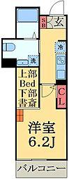 JR総武線 幕張駅 徒歩4分の賃貸マンション 2階1SKの間取り
