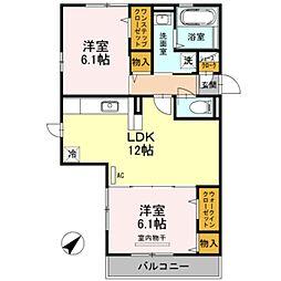大阪府堺市中区土師町5丁の賃貸アパートの間取り