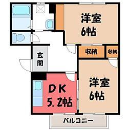 茨城県結城市新福寺1丁目の賃貸アパートの間取り