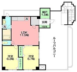神奈川県平塚市河内の賃貸マンションの間取り
