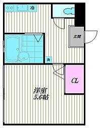 東京都大田区蒲田本町2丁目の賃貸マンションの間取り