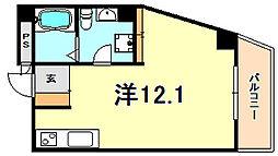 RECIA ROKKO 7階ワンルームの間取り