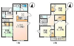 横隈貸家 1階4LDKの間取り