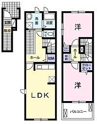 愛知県岡崎市江口3丁目の賃貸アパートの間取り