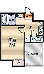 大阪府大阪市城東区成育2の賃貸マンションの間取り