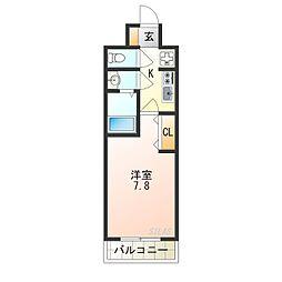 南海線 天下茶屋駅 徒歩7分の賃貸マンション 3階1Kの間取り
