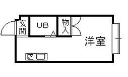 阪急宝塚本線 山本駅 徒歩24分の賃貸マンション 1階1Kの間取り