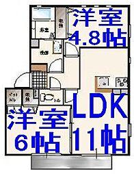 栃木県小山市東城南5丁目の賃貸アパートの間取り