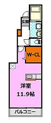茨城県筑西市成田の賃貸アパートの間取り