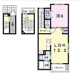 JR川越線 西大宮駅 徒歩21分の賃貸アパート 3階1LDKの間取り