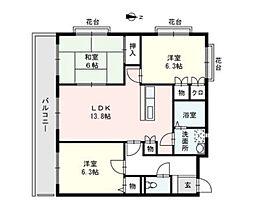 ロジメント生の松原II[5階]の間取り