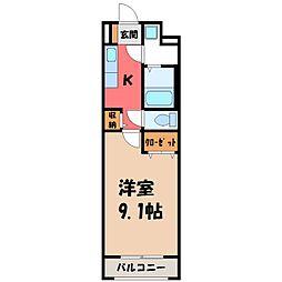 東武宇都宮線 東武宇都宮駅 徒歩15分の賃貸マンション 1階1Kの間取り