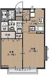 埼玉県入間郡毛呂山町岩井西5丁目の賃貸アパートの間取り
