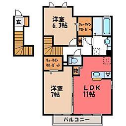 栃木県栃木市大平町富田の賃貸アパートの間取り