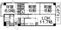 コスモ枚方公園[2階]の間取り