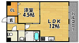 阪急京都本線 上新庄駅 徒歩6分の賃貸マンション 5階1LDKの間取り