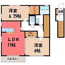 栃木県真岡市亀山3丁目の賃貸アパートの間取り