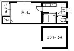 うぃんぐ平尾[205号室]の間取り