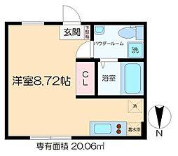 ラフォート菊川 3階ワンルームの間取り