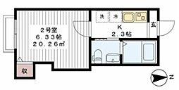 東武野田線 六実駅 徒歩5分の賃貸アパート 2階1Kの間取り