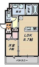 大阪府堺市堺区市之町東4丁の賃貸アパートの間取り