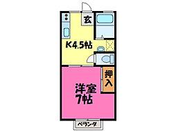 栃木県小山市天神町2丁目の賃貸アパートの間取り