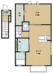 西武池袋線 狭山ヶ丘駅 徒歩11分の賃貸アパート 2階1LDKの間取り