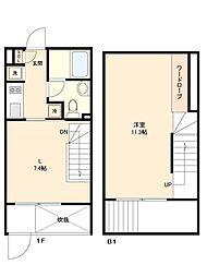 都営新宿線 新宿駅 徒歩7分の賃貸マンション 1階1LDKの間取り