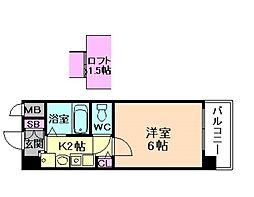 エステムコート梅田茶屋町デュアルスペース[7階]の間取り
