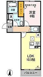 ロイジェントパークスレイクタウンIII C棟 1階1LDKの間取り