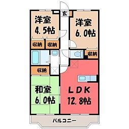 栃木県宇都宮市山本2丁目の賃貸マンションの間取り