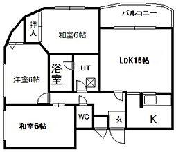 ドミ幌西第2[202号室]の間取り