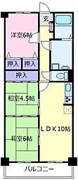 大阪府松原市三宅中2丁目の賃貸マンションの間取り