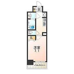 レオンヴァリエ大阪ベイシティ 10階1Kの間取り