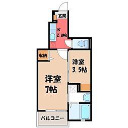 栃木県小山市城東1丁目の賃貸アパートの間取り