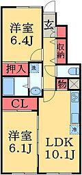 京成本線 京成臼井駅 徒歩34分の賃貸アパート 1階2LDKの間取り