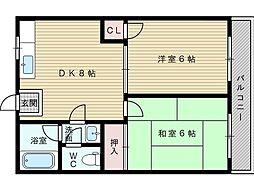 淡路タカラハイツ[2階]の間取り