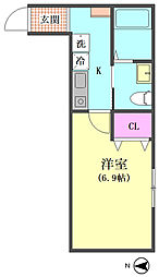 (仮称)西蒲田5丁目邸 1階1Kの間取り