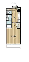 西武新宿線 東村山駅 徒歩4分の賃貸マンション 2階1Kの間取り