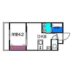 ルポゼ・スギモト 3階1DKの間取り