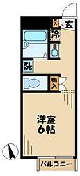 小田急多摩線 唐木田駅 徒歩3分の賃貸アパート 1階1Kの間取り