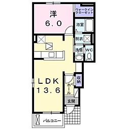 JR御殿場線 富士岡駅 徒歩12分の賃貸アパート 1階1LDKの間取り