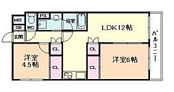大橋マンション5番館[7階]の間取り