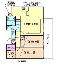 ジオグランデ梅田茶屋町レジデンス[26階]の間取り
