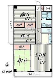 東京都品川区大井7丁目の賃貸マンションの間取り
