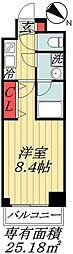 東京メトロ東西線 行徳駅 徒歩10分の賃貸マンション 4階1Kの間取り